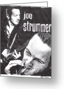 Pencil Greeting Cards - Joe Strummer Greeting Card by Jason Kasper