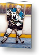 Hockey Painting Greeting Cards - Joe Thornton San Jose Sharks Greeting Card by Dave Olsen