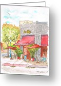 Los Angeles Painting Greeting Cards - Joes-Cafe-West-Hollywood-CA Greeting Card by Carlos G Groppa