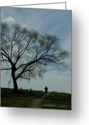 Jogging Greeting Cards - Jogger Runs Along A Path Past A Weeping Greeting Card by Todd Gipstein