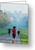 Jogging Greeting Cards - Joggers at Windsor Greeting Card by Andrew  Michael