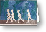 Jogging Greeting Cards - Joggers Greeting Card by Fred Jinkins