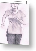 Jogging Greeting Cards - Jogging Greeting Card by Bindu N