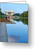 Jogging Photo Greeting Cards - Jogging to the Memorial Greeting Card by Steven Ainsworth