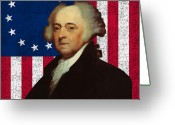 4th Digital Art Greeting Cards - John Adams and The American Flag Greeting Card by War Is Hell Store