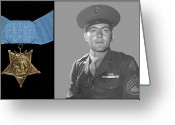 War Hero Greeting Cards - John Basilone and The Medal of Honor Greeting Card by War Is Hell Store