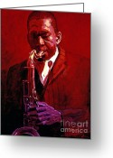 Featured Greeting Cards - John Coltrane Greeting Card by David Lloyd Glover