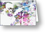 Watercolor Greeting Cards - John Coltrane Greeting Card by Irina  March