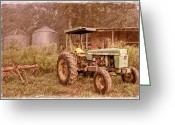 Black And White Canvas Greeting Cards - John Deere Antique Greeting Card by Debra and Dave Vanderlaan