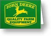 Quality Photo Greeting Cards - John Deere Farm Equipment Sign Greeting Card by Randy Steele