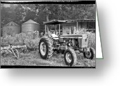 Old Photo Greeting Cards - John Deere in Black and White Greeting Card by Debra and Dave Vanderlaan