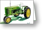 John Deere Greeting Cards - John Deere Tractor Greeting Card by Ferrel Cordle