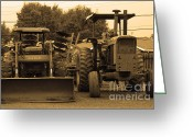 Farm Machine Greeting Cards - John Deere Tractors Greeting Card by Wingsdomain Art and Photography
