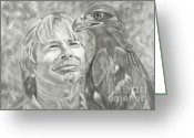 Raven Drawings Greeting Cards - John Denver and Friend Greeting Card by Carol Wisniewski