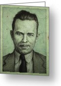 Outlaw Greeting Cards - John Dillinger Greeting Card by James W Johnson