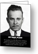 Oats Greeting Cards - JOHN DILLINGER -- Public Enemy No. 1 Greeting Card by Daniel Hagerman