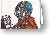 Sports Art Drawings Greeting Cards - John Elway 2 Greeting Card by Jeremiah Colley
