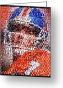 Qb Greeting Cards - John Elway Mosaic Greeting Card by Paul Van Scott