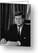 President Kennedy Greeting Cards - John F Kennedy Greeting Card by War Is Hell Store