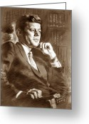 American President Drawings Greeting Cards - John Fitzgerald Kennedy Greeting Card by Ylli Haruni