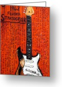 Chili Peppers Greeting Cards - John Frusciante 1962 Stratocaster Greeting Card by Karl Haglund