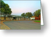 Driveways Greeting Cards - John Glenn Middle School On A Sunday Morning In Autumn Greeting Card by Louis Nugent