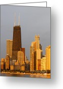 Chicago Skyline Greeting Cards - John Hancock Center Chicago Greeting Card by Adam Romanowicz