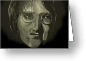 Silver Moonlight Greeting Cards - John Lennon 4 Greeting Card by Mark Moore