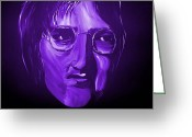 Silver Moonlight Greeting Cards - John Lennon 5 Greeting Card by Mark Moore