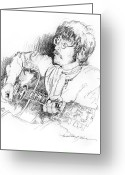 Music Icon Greeting Cards - John Lennon Greeting Card by David Lloyd Glover