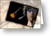 Singer Songwriter Greeting Cards - John Lennon Greeting Card by Elaine Manley