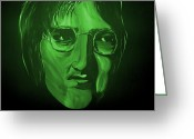 Silver Moonlight Greeting Cards - John Lennon Greeting Card by Mark Moore
