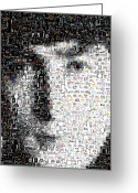 The Beatles Mixed Media Greeting Cards - John Lennon Mosaic Greeting Card by Paul Van Scott