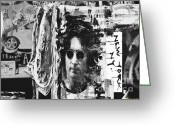 The Beatles Mixed Media Greeting Cards - John  Lennon NYC Print Greeting Card by AdSpice Studios
