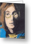 Photo Manipulation Drawings Greeting Cards - John Lennon Pastel Greeting Card by Jimi Bush