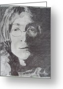 Photo Manipulation Drawings Greeting Cards - John Lennon Pencil Greeting Card by Jimi Bush