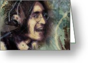 Illustration Greeting Cards - John Lennon Tribute- Dont Let Me Down Greeting Card by David Finley