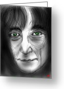 Strawberry Drawings Greeting Cards - John Lennon watching Greeting Card by Dan Marquart