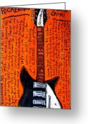 Iconic Guitars Greeting Cards - John Lennons Rickenbacker Greeting Card by Karl Haglund