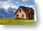 Pioneer Park Greeting Cards - John Moulton Home - Grand Teton National Park Greeting Card by Gary Whitton