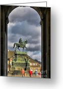 Prince Greeting Cards - John of Saxony Monument - Dresden Theatre Square Greeting Card by Christine Till