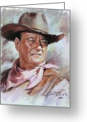 Cowboy Pastels Greeting Cards - John Wayn Greeting Card by Ylli Haruni