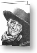 Cherry Drawings Greeting Cards - John Wayne   Dreamer Greeting Card by Marianne NANA Betts