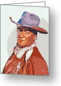 Wayne Greeting Cards - John Wayne - THE DUKE Greeting Card by David Lloyd Glover