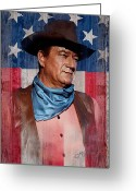 Wayne Greeting Cards - John Wayne Americas Cowboy Greeting Card by John Guthrie