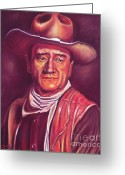 Icon  Pastels Greeting Cards - John Wayne Greeting Card by Anastasis  Anastasi