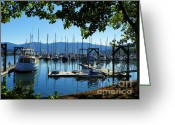 Beach Scenery Mixed Media Greeting Cards - John Wayne Marina - Sequim Washington Greeting Card by Photography Moments - Sandi