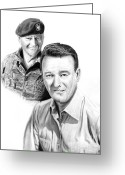 Movie Star Greeting Cards - John Wayne Greeting Card by Peter Piatt