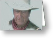 Cowboy Greeting Cards - John Wayne Greeting Card by Randy Follis