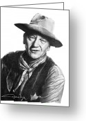 Cherry Drawings Greeting Cards - John Wayne  Sheriff Greeting Card by Marianne NANA Betts